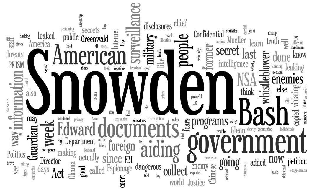 A word cloud featuring a number of words of different sizes (based on their frequency); the biggest words include 'Snowden,' 'Bash,' 'American,' 'government,' 'documents,' 'surveillance,' 'aiding,' 'information,' 'people,' 'whistleblower,' 'Guardian,' and 'military,' among many others.
