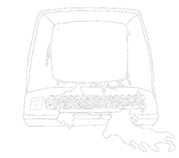 A sketch of an old-school computer terminal with an unknown fluid leaking out of it. The nonboolean media logo is etched onto the left side.